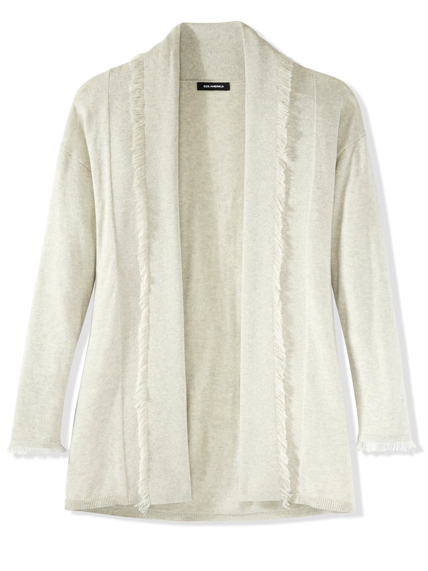 Fringed Cotton Cashmere Cardigan