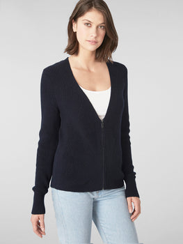 Cotton Shaker Wave Stitch Zip Up Cardigan