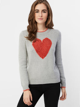 Cotton Shaker Chenille Heart Sweater
