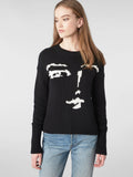 Cotton Shaker Intarsia Face Sweater