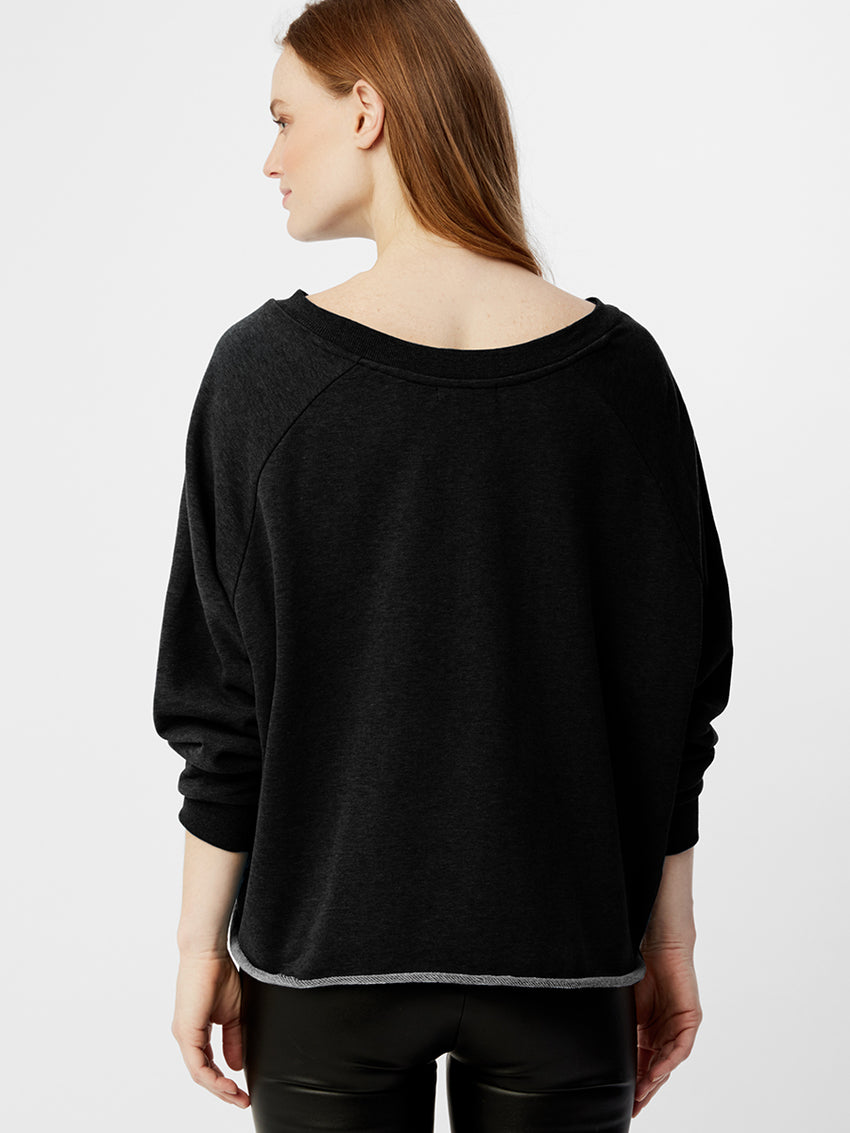 French Terry Tie Front Oversized Sweatshirt