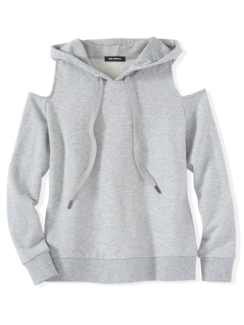 French Terry Cold Shoulder Hoodie
