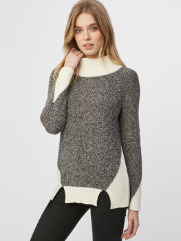 Cotton Shaker Colorblock Cutout Hem Sweater