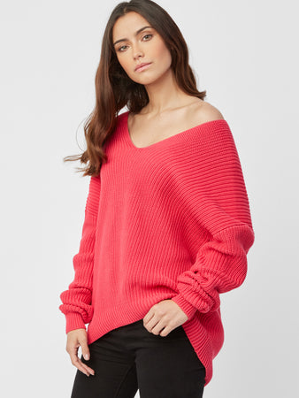 Cotton Shaker Hi Lo V-Neck Sweater