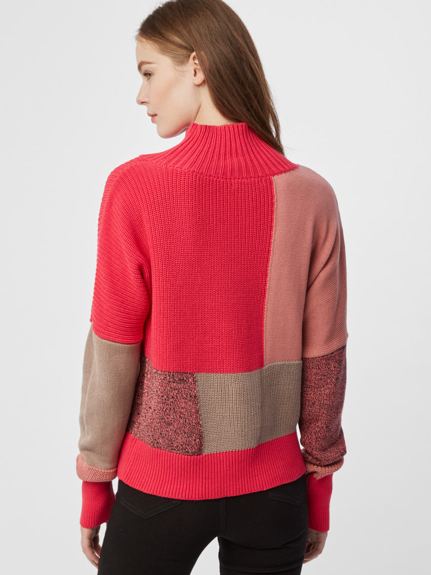 Cotton Shaker Patchwork Turtleneck Sweater