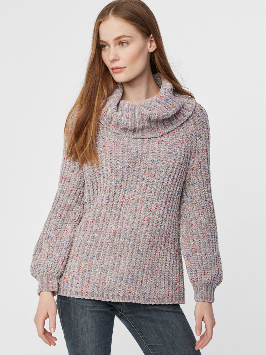 Fleck Chenille Balloon Sleeve Turtleneck Sweater