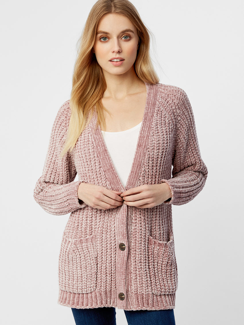 Bouncy Chenille Chunky Knit Cardigan
