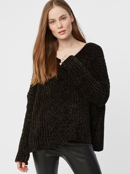Bouncy Chenille V-Neck Sweater