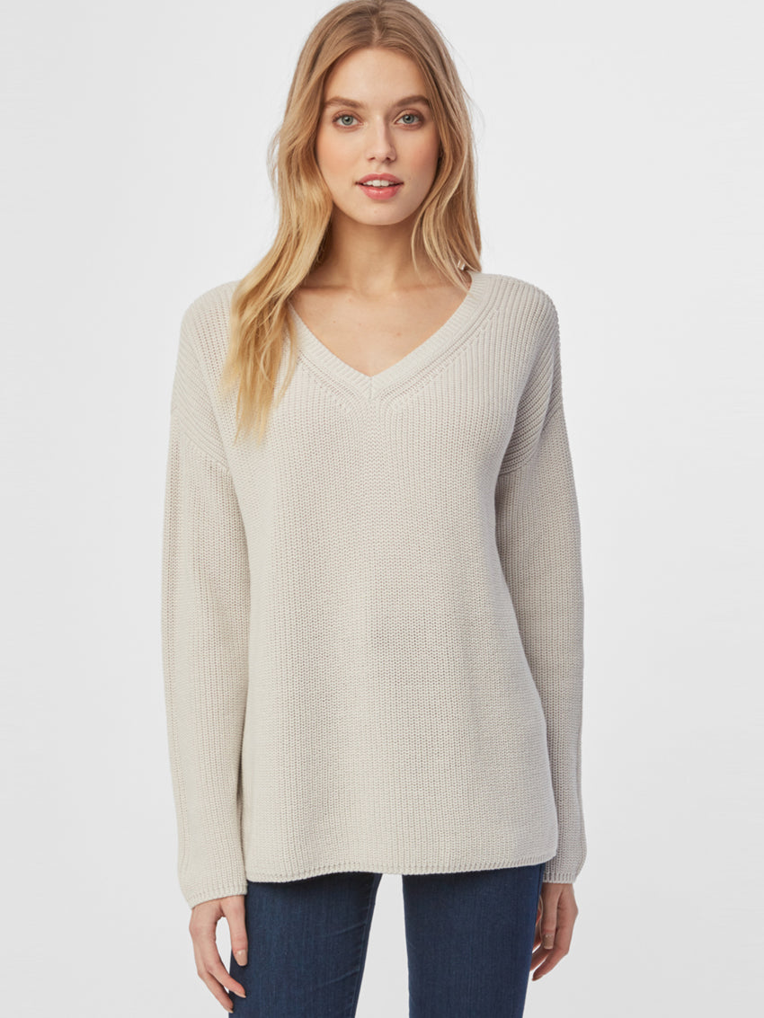 Cotton Shaker V-Neck Sweater