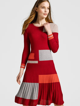 Patchwork Ribbed Knit Sweater Dress