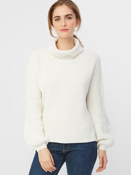 Balloon Sleeve Cotton Shaker Turtleneck Sweater
