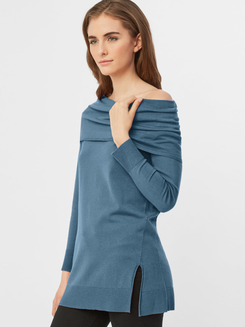 Rollover Wide Neck Sweater