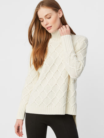Cotton Wool Honeycomb Knit Turtleneck Sweater