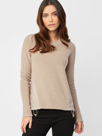 Cotton Shaker Quilted Back Sweater