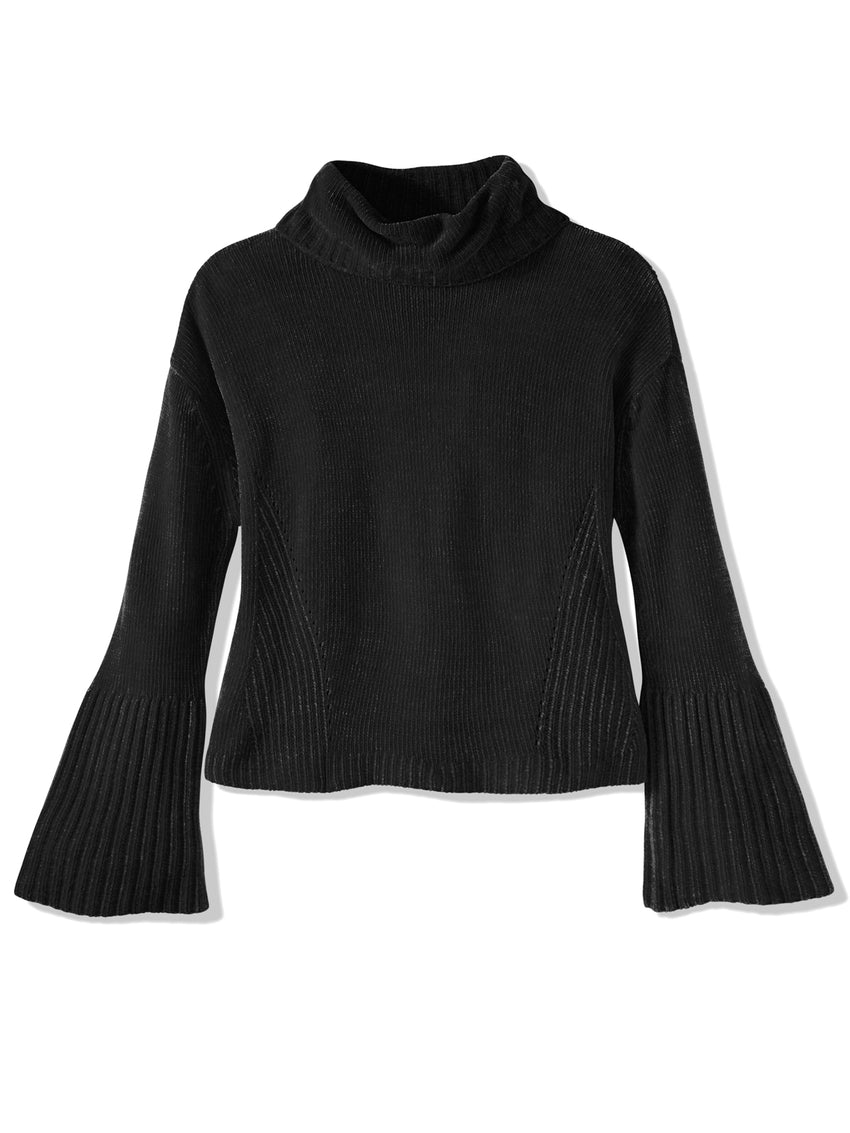 Chenille Flare Sleeve Turtleneck Sweater