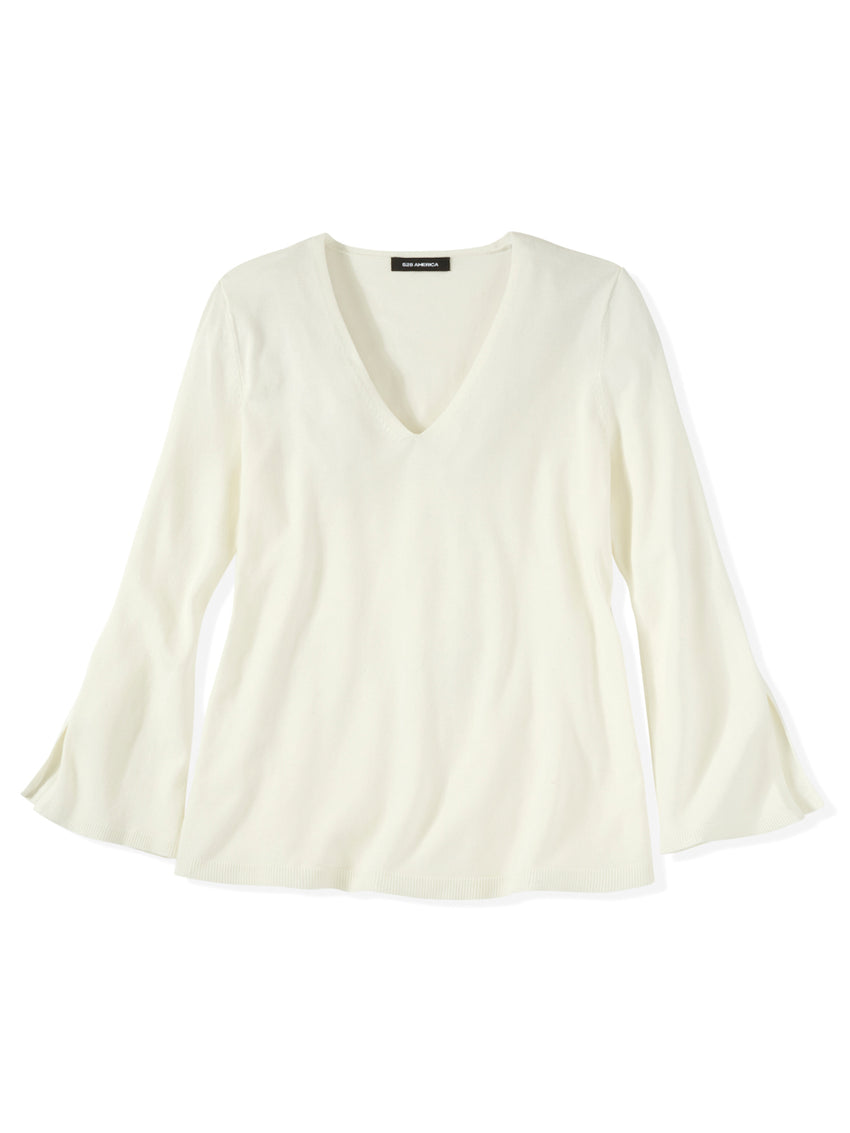 Split Sleeve V-Neck Top