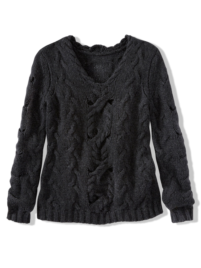 Wool Cashmere Two Way Cable Knit Sweater