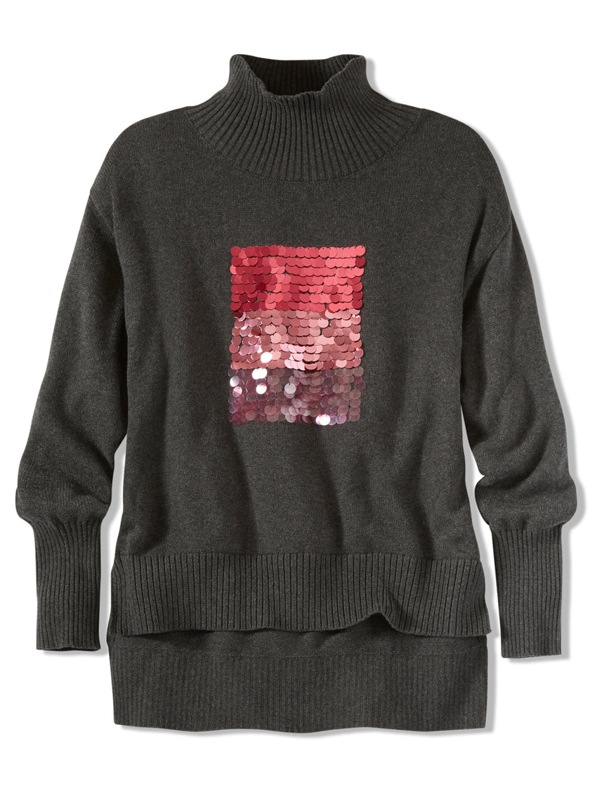Cotton Cashmere Ombre Pailette Turtleneck Sweater