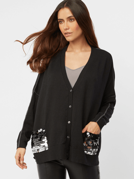 Cotton Cashmere Ombre Pailette Pocket Cardigan