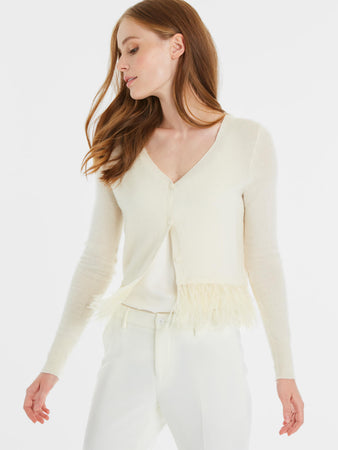 Cashmere Button Front Feather Trim Cardigan