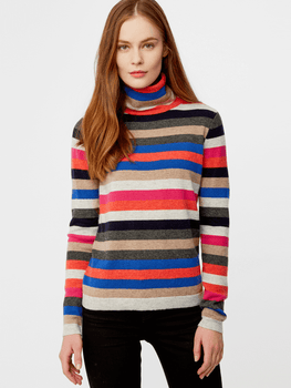 Cashmere Striped Turtleneck Sweater