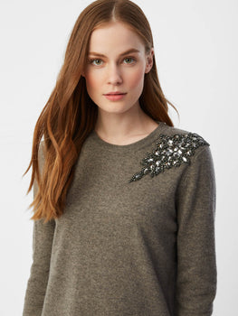 Embellished Cashmere Crewneck Sweater
