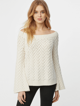 Off The Shoulder Bell Sleeve Aran Stitch Sweater