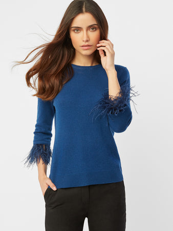Cashmere Feather Cuff Crewneck Sweater