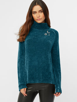 Starry Night Chenille Turtleneck Sweater