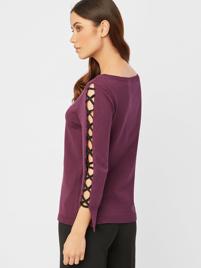 Lace Up Sleeve Crewneck Top