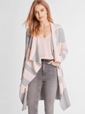 Cotton Blend Wide Stripe Draped Open Front Duster Cardigan