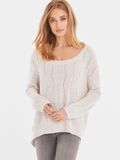 Cotton Transfer Stitch Scoop Neck Sweater