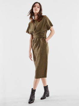 Linen Tie Waist Crewneck Dress