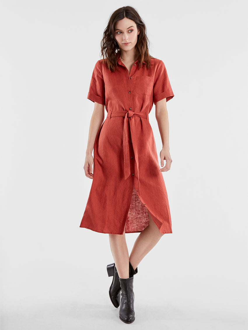 Linen Tie Waist Shirtdress