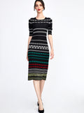 Brick Jacquard Knit Dress