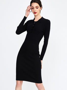 Ribbed Knit Long Sleeve Polo Dress