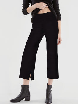 Ribbed Knit Wide Leg Pants