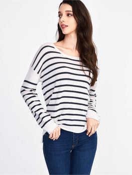 Cashmere Relaxed Fit Striped Crewneck Sweater