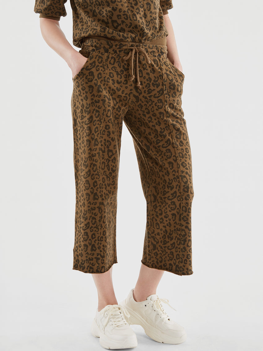 Cotton Leopard Print Drawstring Sweatpants