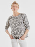 Cotton Leopard Print Raw Edge Sweatshirt