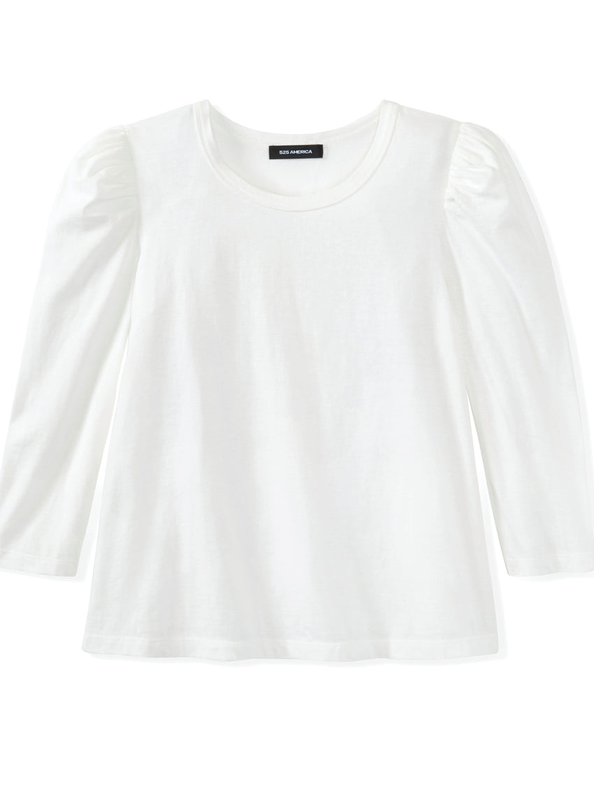 Cotton Slub Jersey Puff Long Sleeve T-Shirt