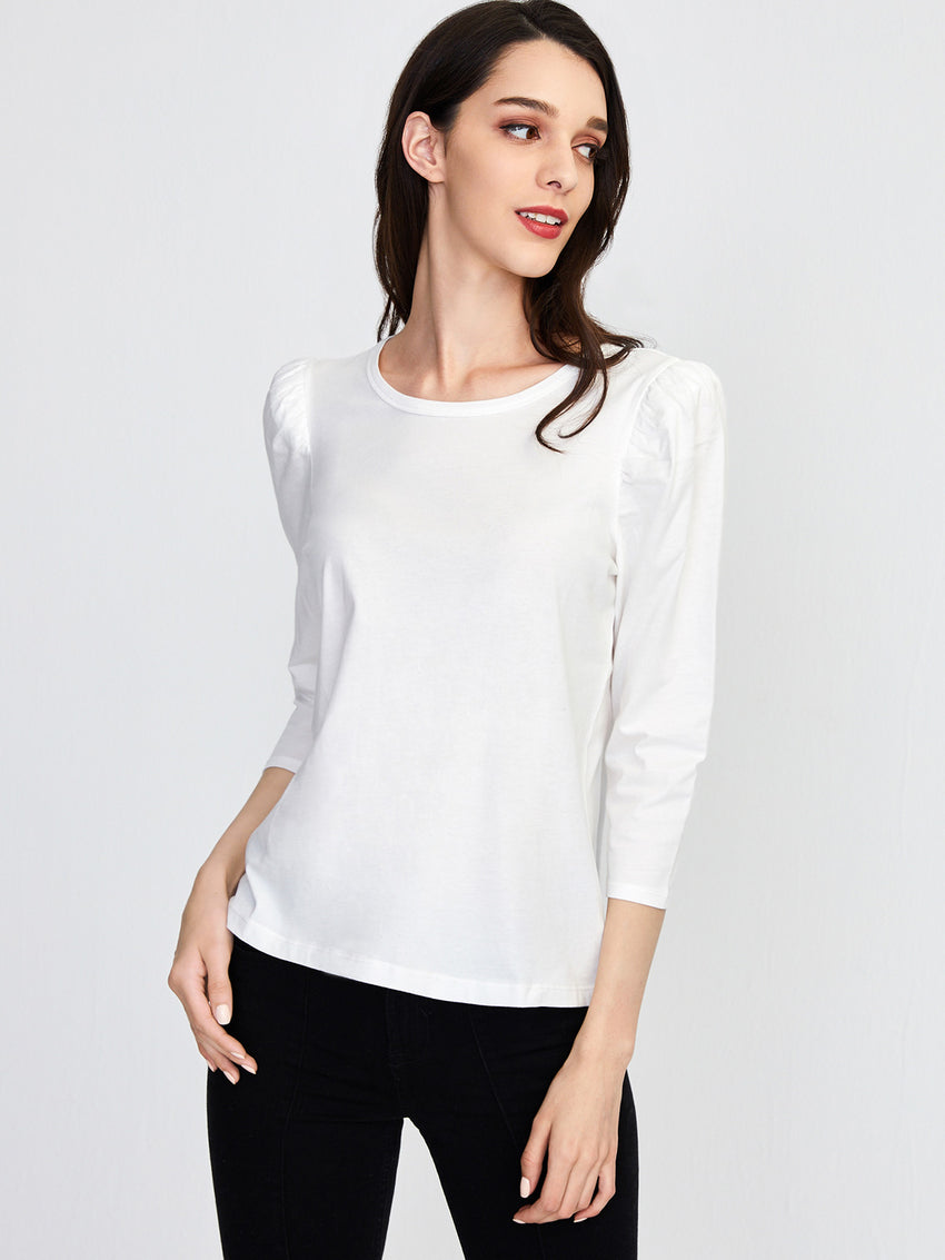 Cotton Jersey Puff Long Sleeve T-Shirt