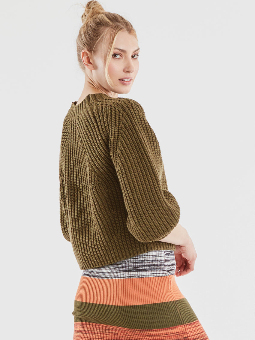 Cotton Shaker Balloon Sleeve Cropped Sweater