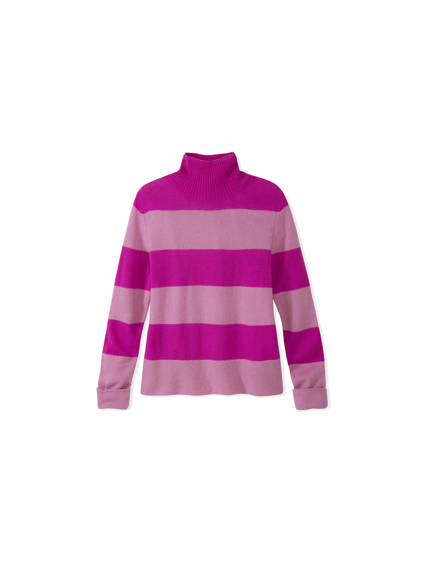Cashmere Striped Mock Neck Sweater