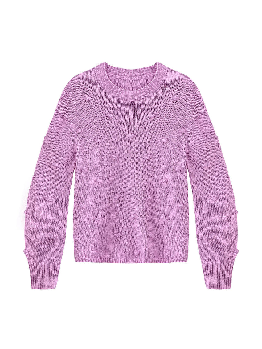 Cotton Shaker Popcorn Knit Sweater