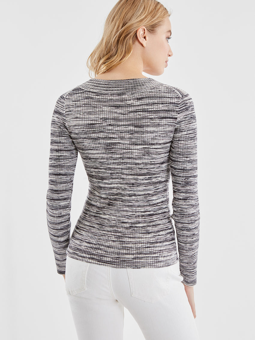 Space Dye Ribbed Knit V-Neck