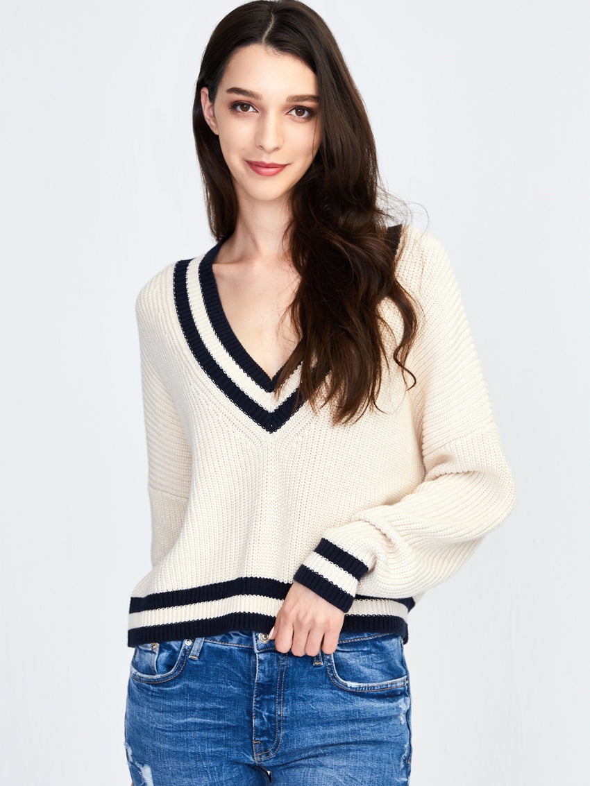 Cotton Shaker Varsity V-Neck Cropped Sweater