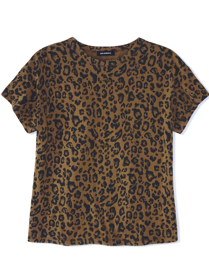 Leopard Print Cotton Jersey Short Sleeve T-Shirt