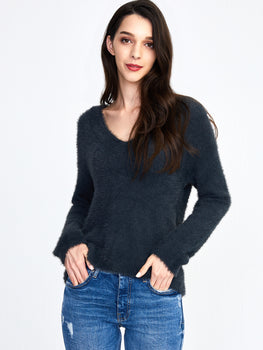 Eyelash Relaxed V-Neck Sweater