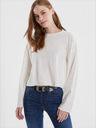 Cotton Slub Jersey Long Sleeve Cropped T-Shirt